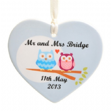Owl Couple Ceramic Heart - Personalised Christmas Tree Decoration